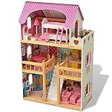 FZYHFA casa delle bambole a 3livelli con sale funzionali e meublées legno MDF, pinède e adesivi in carta 60x 30x 90cm (L x L x H) multiculeur