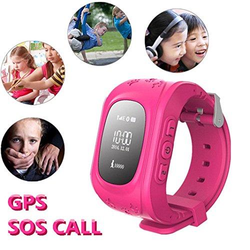 Hangang Q50 - Localizador de localizador para niños de 2 vías para llamadas SOS localizador de dispositivo para niños seguro, antipérdida, reloj inteligente podómetro, rastreador GPS, regalos para niños, SOS en tiempo real, seguimiento de los padres, control por iOS y Android APP, color rosa