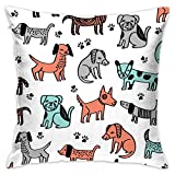 Dogs Dog Pets Cute Dogs Animals Flannel Decorative Square Pillow Cushion Cover Sofa Home Decor Modern 18 X 18 inch(45 X 45 cm