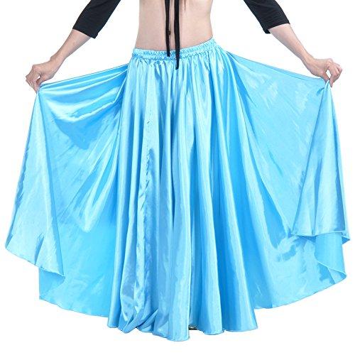 Dance Fairy Frau Satin lange Schaukel Expansionsrock 90cm Gummibund Stammes Design Weihnachtsgeschenk Seeblau (Dance Team Halloween Kostüme)