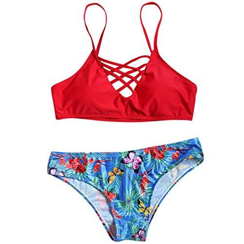 WOCACHI Damen Bikinis Reizvolle Frauen Schmetterlings Muster Push-Up Padded BH Strand Bademode Badeanzug Badebekleidung Swimsuit Swimwear Rot (S, (Size Kostüme Plus Schmetterling)