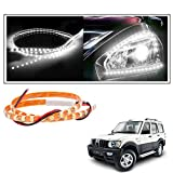 #7: Vheelocityin 2 Pc. 45 Cm Waterproof Flexible Tube Strip Car Interior/ Exterior Light - White For Mahindra Scorpio
