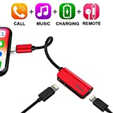 iPhone 7/7Plus Adapter,Baseus Dual Lightning Headphone Audio & Charge & Call Adapter Splitter for iPhone X / iPhone 8 /8 Plus / iPad / iPod Support for iOS 10 ~ iOS 11 and Later (L37 - Red)