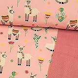 Softshell Stoff Happy Alpakas rosa - Preis Gilt für 0,5