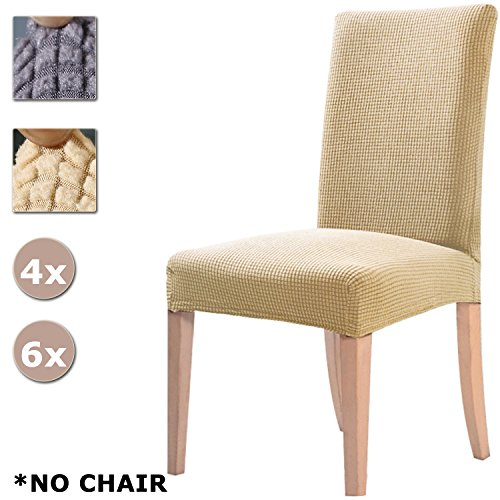 YISUN Dining Chair Covers, Stretch High Chair Cover Removable Washable Occasional Slipcover Garden Living Room Dining Chair Seat Covers For Dining Chairs 4/6 PCS Chair Protective Covers (Beige, 6 PCS)