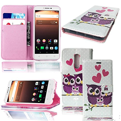 Für Alcatel A3 XL 9008 X/A3 5046y Fall - Geldbörse Leder Book Case Flip Tasche Cover mit Card/Cash Slots & Pocket Cover für Alcatel A3 XL/Alcatel A3, Family OWL FLIP CASE, Alcatel A3 XL