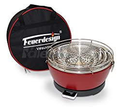 Feuerdesign Holzkohle Tischgrill Vesuvio rauchfrei v Rot - mit Tasche und wiederaufladbaren Akku