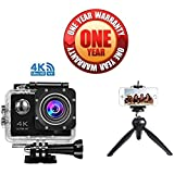Exosis 4K WIFI Sports Action Camera Ultra HD Waterproof DV Camcorder 16MP 170 Degree Wide Angle With 228 Mini Tripod Stand For Action Cameras / Photo Cameras / Smartphones.