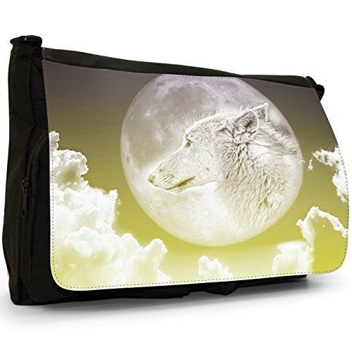 Lupo Mannaro Colore Nero Borsa Messenger-borsa A Tracolla In Tela Per Laptop Scuola Moonlight Wolf - Yellow