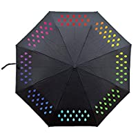 Goldstar Color Changing Umbrella 3 Folds for School College Travel Girls Boys
