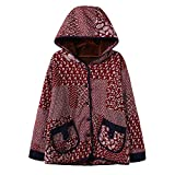 TOPKEAL Jacke Mantel Damen Herbst Winter Sweatshirt Gedruckt mit Kapuze Steppjacke Kapuzenjacke mit Blumenmotiv Hoodie Taschen Pullover Warm Outwear Coats Mode Tops