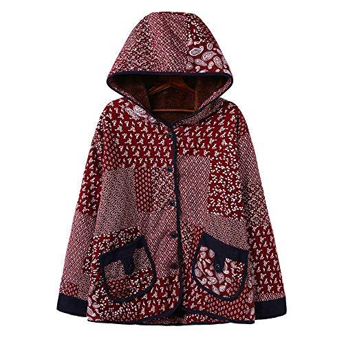 TOPKEAL Jacke Mantel Damen Herbst Winter Sweatshirt Gedruckt mit Kapuze Steppjacke Kapuzenjacke mit Blumenmotiv Hoodie Taschen Pullover Warm Outwear Coats Mode Tops -
