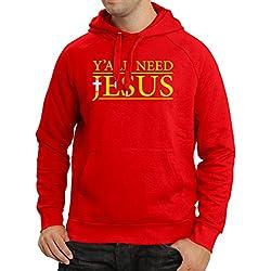 lepni.me Sweatshirt à Capuche Manches Longues Vous Avez Tous Besoin de Jésus - Vêtements Religieux chrétiens (XX-Large Rouge Multicolore)