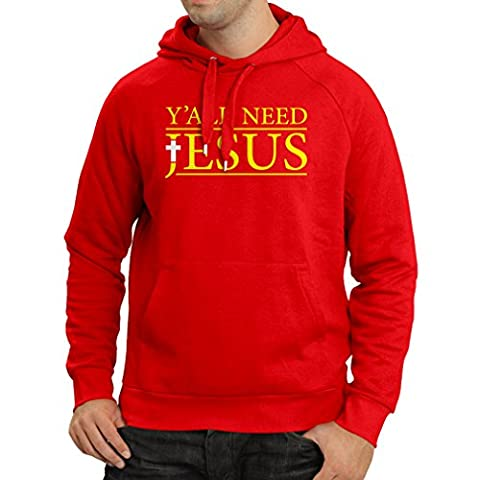 Sweatshirt à capuche manches longues Vous avez tous besoin de Jésus - Vêtements religieux chrétiens (Large Rouge Multicolore)