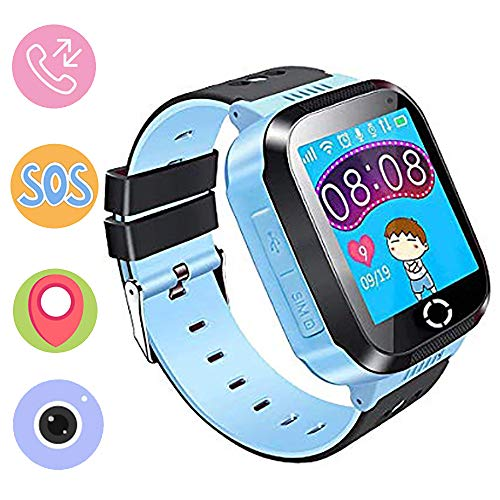 Kinder Smartwatch Phone,Digital Watch with Games, SOS and 1.44 inch Touch LCD for Boys Girls Birthday (Blau) (pink) (Blue) Watch Phone