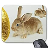 Gaming Mouse Pad Mousepad Lovely Rabbit Mousepad Serie Golden Easter Egg und Hasen Mauspad Bunny Rabbit Mouse Pad Rechteck Mousepads