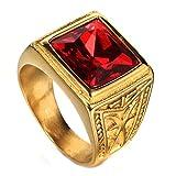 LANCHENEL Herren Titan Stahl Schmuck Weinlese Rot Saphir 24k Gold Ringe,Rot,Größe 70(22.3)