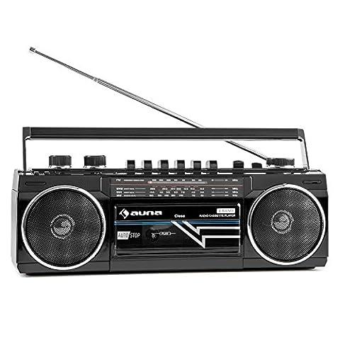auna Duke - Poste radio cassette portable rétro Ghetto Blaster Bluetooth, entrée USB et SD MP3 et tuner FM (lecteur K7 frontal, utilisation sur piles possible, haut-parleurs stéréo) - noir