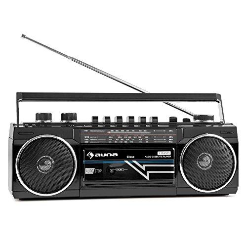 auna Duke • Stereoanlage • Ghettoblaster • Kassettenplayer • Kassettendeck • UKW Radio • USB • Bluetooth • Stereo-Lautsprecher • Bass-Regler • Netz- und Batteriebetrieb • Tragegriff • schwarz