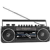 auna Duke • Minicadena • Radiocassette • Radio FM • Puerto USB compatible con MP3 • Bluetooth • Altavoz estéreo • Regulador de bajo independiente • Antena telescópica • Cable o pilas • Asa • Negro