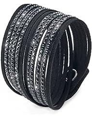 Emma Gioielli–pulsera para mujer dos torres de piel negro con diseño de cristales Swarovski negros