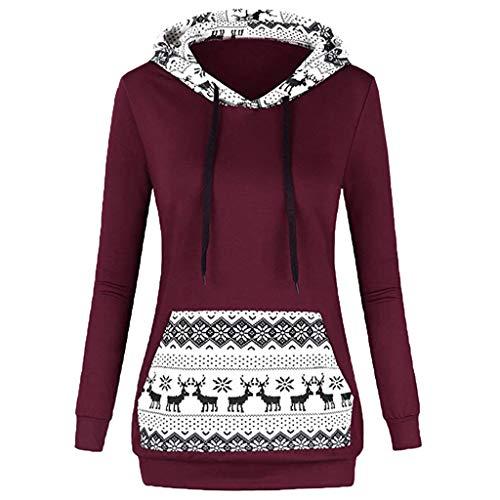VEMOW Heißer Damen Frauen Pullover Weihnachtsdruck Mit Reißverschluss Lässige Tägliche Freizeit Im Freien Pullover Mit Kapuze Sweatshirt Tops Herbst Winter(A-Rot, EU-38/CN-XL)