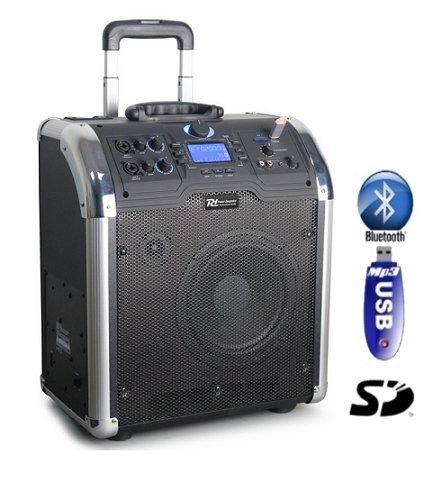 Power Dynamics PA-203tragbares Bluetooth-Sound-System, 100W, 8Zoll Lautsprecher, USB, Micro-SD, Bass-Lautsprecher, Bassreflex