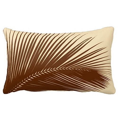 Palm leaf - Dark brown and tan Pillows 50% Cotton 50% Polyester 24 x 16 inches Pillowcase