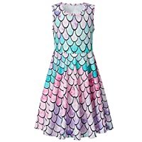 Funnycokid Girls Summer Dresses Print Floral Sleeveless Round Neck Sundress 4-13 Years