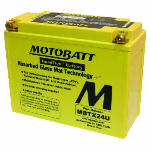 MOTOBATT MBTX24U (12V 25 Amp) 285CCA Factory Activated Maintenance Free QuadFlex AGM Battery