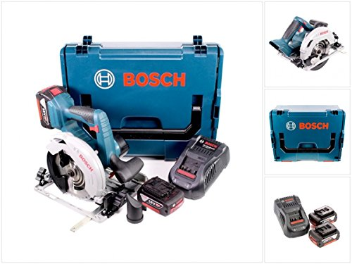 Preisvergleich Produktbild Bosch GKS 18 V-57 G Professional Akku Kreissäge mit 2x GBA 6,0 Ah Akkus, 1x GAL 1880 CV Ladegerät und L-Boxx