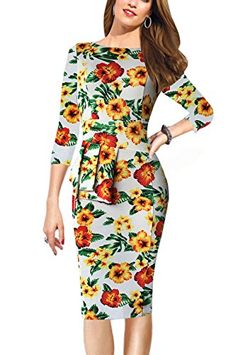 REPHYLLIS Femme Robe de Soirée Mesh Retro Cocktail 1950 Rockabilly Party Robe Jaune fleur