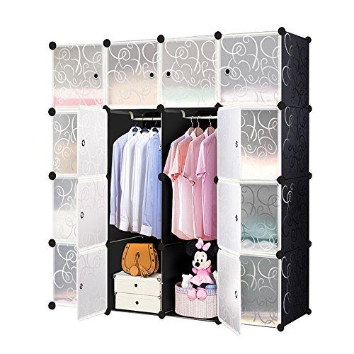 HENGMEI DIY Regalsystem Aufbewahrung Badregale Kleiderschrank Schuhregal Sideboard Schuhschrank Steckregal Badregal mit Schwarz-Muster (16 Boxen mit Tür) -