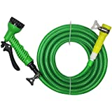 "TechnoCrafts PVC Braided Hose For Floor Care 5 Meter (16.5 Feet) 1/2"" (0.5 Inch Or 12.5mm) Bore Size - 3 Layered Hose Pipe With 7 Function Spray Gun, 1/2"" Tap Connector & 2 Butterfly Clamps"