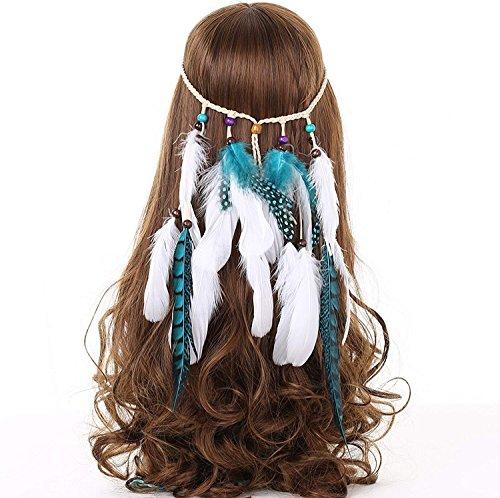 Hippie Boho Bohème Plume Bandeau Déguisements Coiffures Accessoires de cheveux pour les femmes