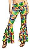 Hippie Schlaghose für Damen im Batik Look - Bunt - Zubehör Flower Power Kostüm Fasching 60er 70er Mottoparty Tanzgruppen Show Auftritte