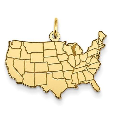 14k United States Map Charm