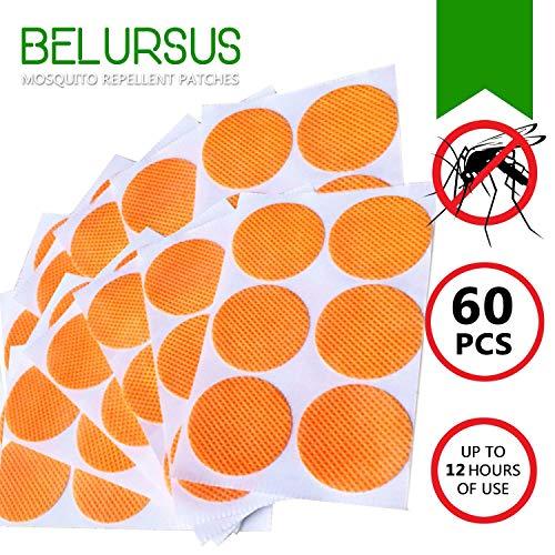 BELURSUS Mückenabwehr Patch - für Kinder und Erwachsene - Orange Persönliche Aufkleber - 12-24 H Schutz - Premium Japan natürliche wiederverschließbare Clips von ätherischen Ölen - 60 Stück Orange - Citronella Öl, Mückenschutz