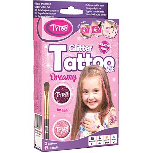 Tytoo Glitzertattoo Set für Mädchen mit 15 Schablonen- hypoallergen und hält bis zu 18 Tage