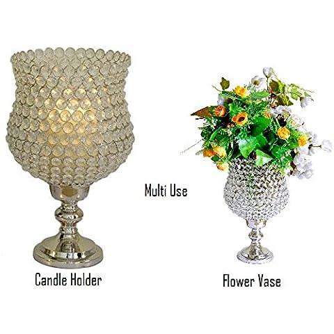 Multiusos de cristal Hurricane GoBe suelo Pilar portavelas y jarrón de flores floral titulares bodas 31cms