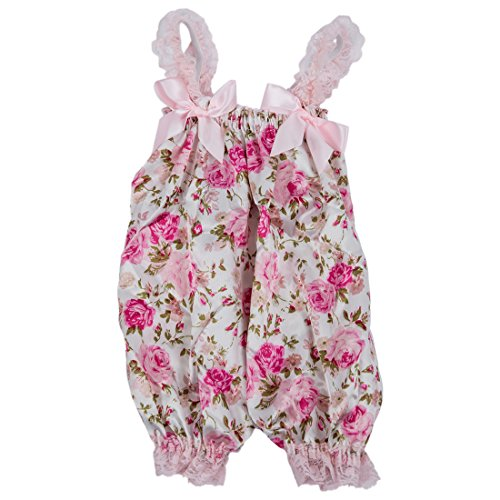 SODIAL(R) Newborn Infant Baby Girl Floral Ruffle Rompers Dress One-Piece Tutu Lace Clothes Bust 32-56cm length 50cm.
