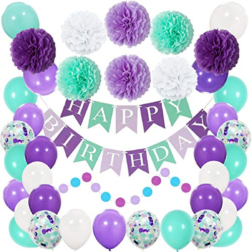 VADOO Meerjungfrau-Partydekorationen, Alles Gute zum Geburtstag-Fahne mit Seidenpapier Pom Poms, Latex-Ballonen, Meerjungfrau-Konfettis, Glitter-Meerjungfrau-Partyhüten und Cupcake-Deckel (Birthday Mermaid Little 1st Party Supplies)