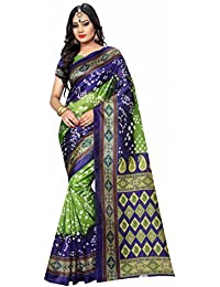 Craftsvilla Women's Bandhani Hand Painted Bhagalpuri Silk Traditional Blue & Green Saree With Unstitched Blouse...