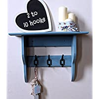Deep shelf with vintage industrial coat hooks, stone blue, 2 to 10 hooks