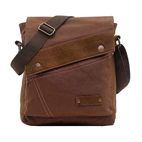 VRIKOO Unisex Vintage Segeltuch Leder Umhängetaschen Messenger Bag Lässige Travel Schultertasche Crossbody Taschen (Kaffee) - Eco-friendly Messenger Bag