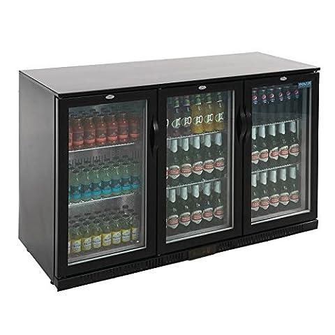 Polar Triple Hinged Door 330L Back Bar Cooler LED Black Commercial Fridge