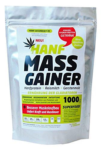 Hanf Protein Gainer 1000 g - Fitness Getränk für alle! 100% pflanzliche Herkunft, 90% verdaulich, mit 23 Aminosäuren, ausgewogenne Ernährung von Muskeln und Sehnen