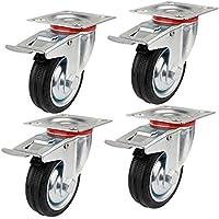 YAOBLUESEA Ruedas de Transporte de transporte Ruedas cargas pesadas rollos de muebles (4 x volantes Ø 75 mm ruedas, 50 kg por rollo)