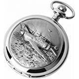 Woodford Spitfire Chrome/pewter Mechanical Double Hunter Pocket Watch