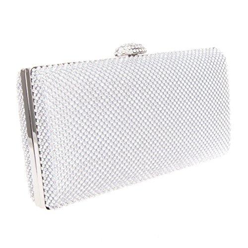 Bonjanvye Envelope Oversized Handbag Evening Purses Clutches Bag Green Silver